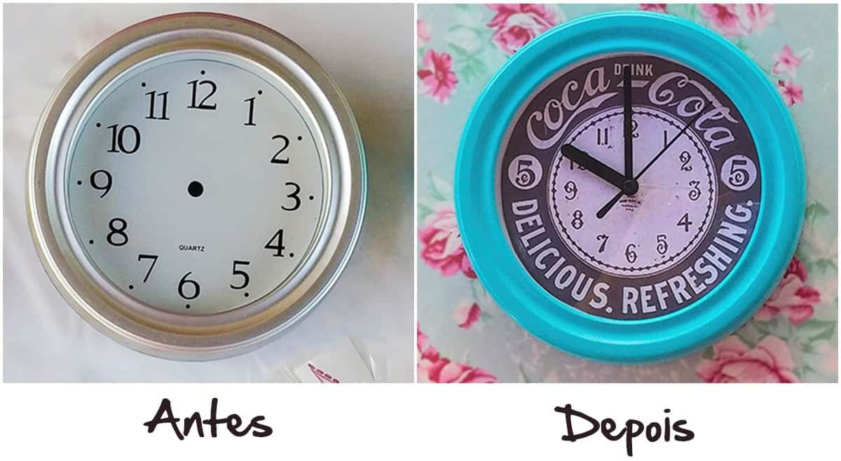 88d27b7fbde Relógio de Parede Personalizado Retrô – DIY - Decorar Com Charme