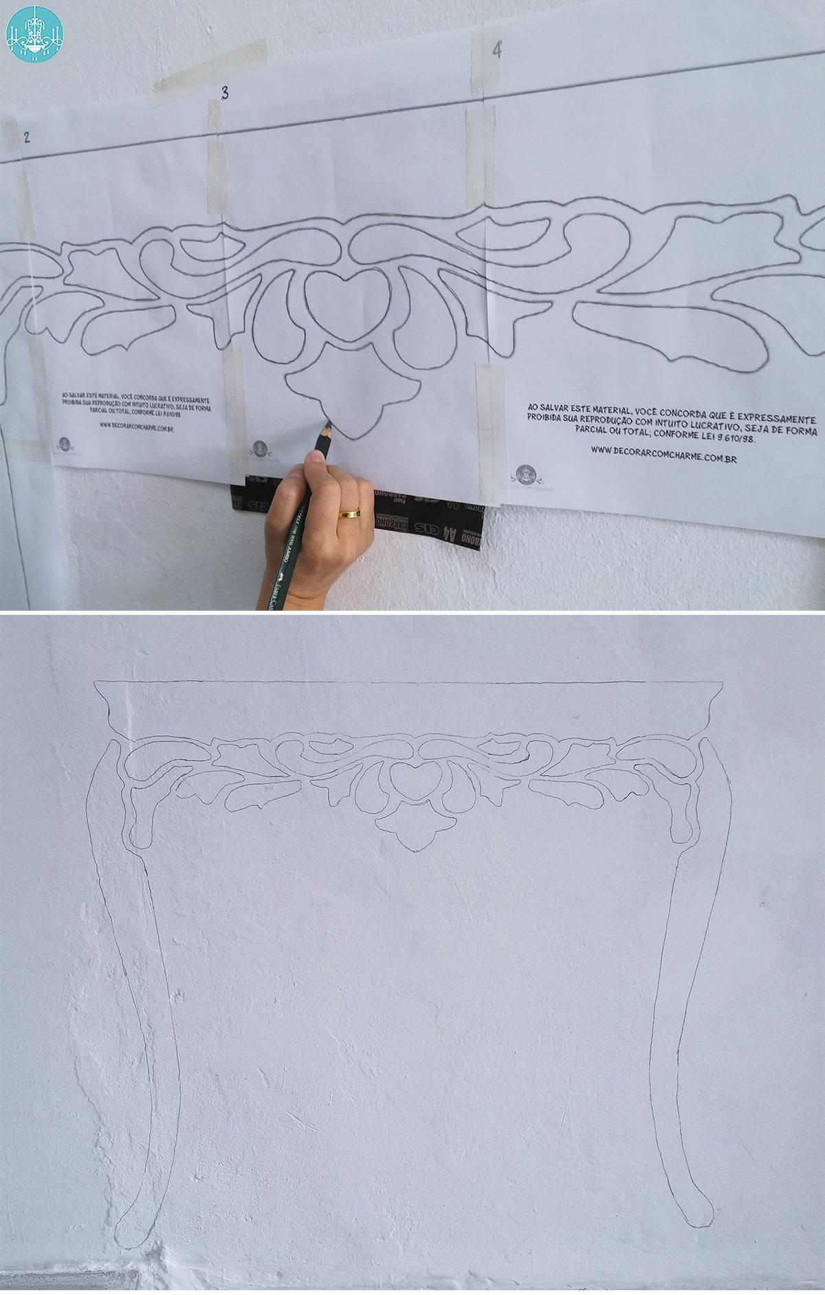 aparador pintado na parede